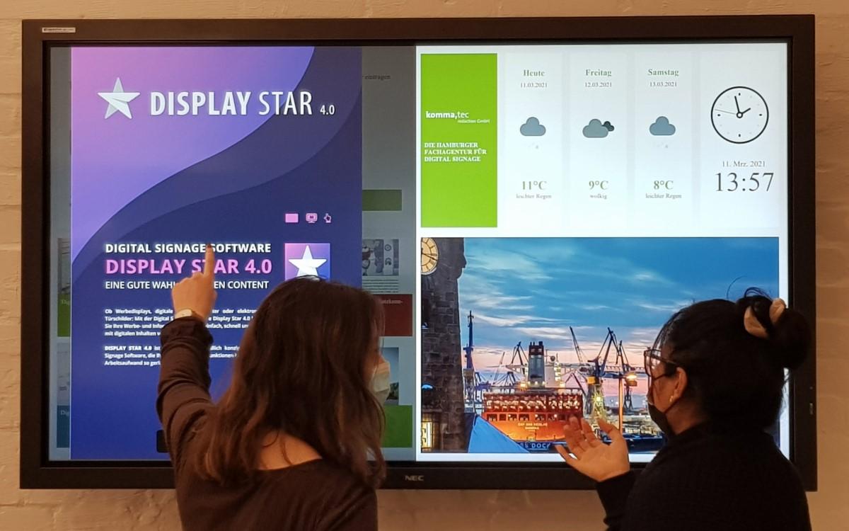 Die Hamburger Digital Signage-Agentur komma,tec bietet mit ihren digitalen Infoboards eine moderne Art der Mitarbeiterinformation (Foto: komma,tec redaction)