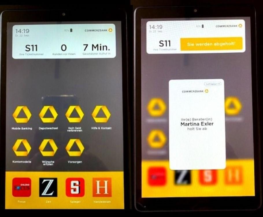 Die Tablet bieten Services und Unterhaltung, während Kunden warten (Foto: Grassfish)