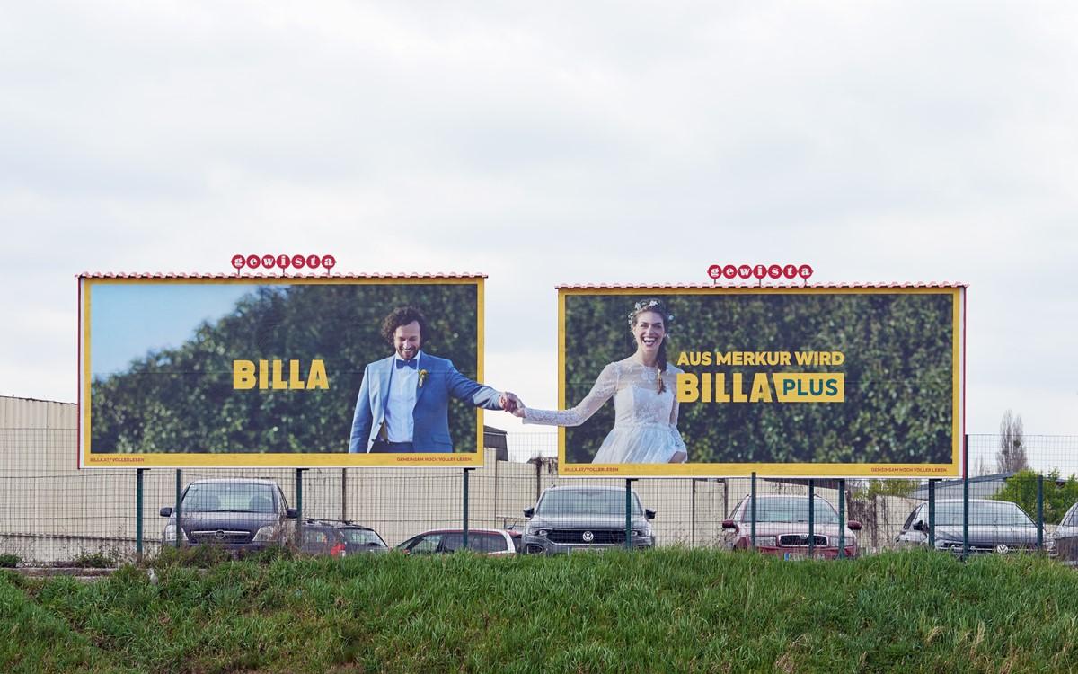 """Frisch vermählt – Gewista inszeniert die """"Heirat"""" von Billa und Merkur mit Out of Home (Foto: Gewista)"""