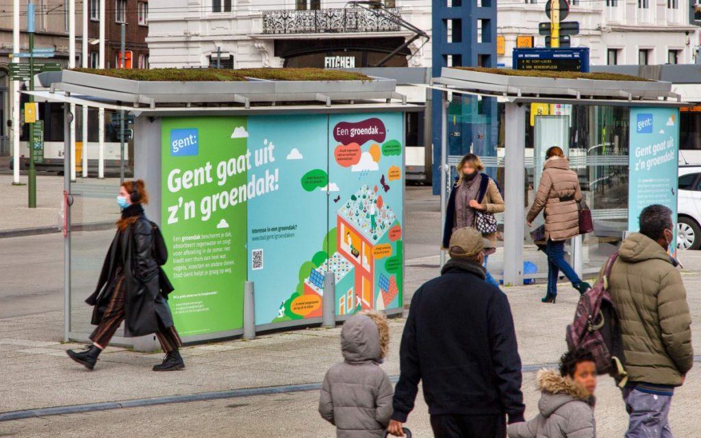 Clear Channel Belgien hat in Gent für ein Pilotprojekt vier Wartehallen begrünt, weitere sollen folgen (Foto: Clear Channel)