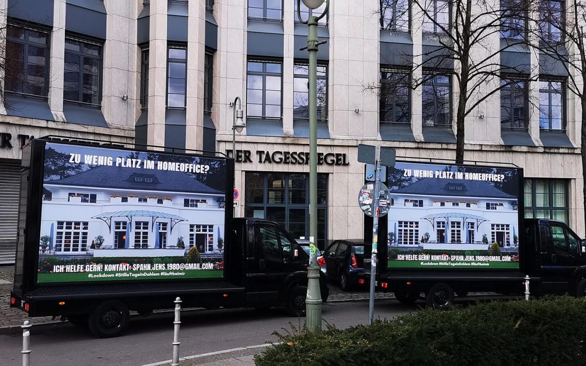 "Mobile OoH-Flächen für die ""Aktion Homeoffice"" von planus media in Berlin (Foto: planus media)"