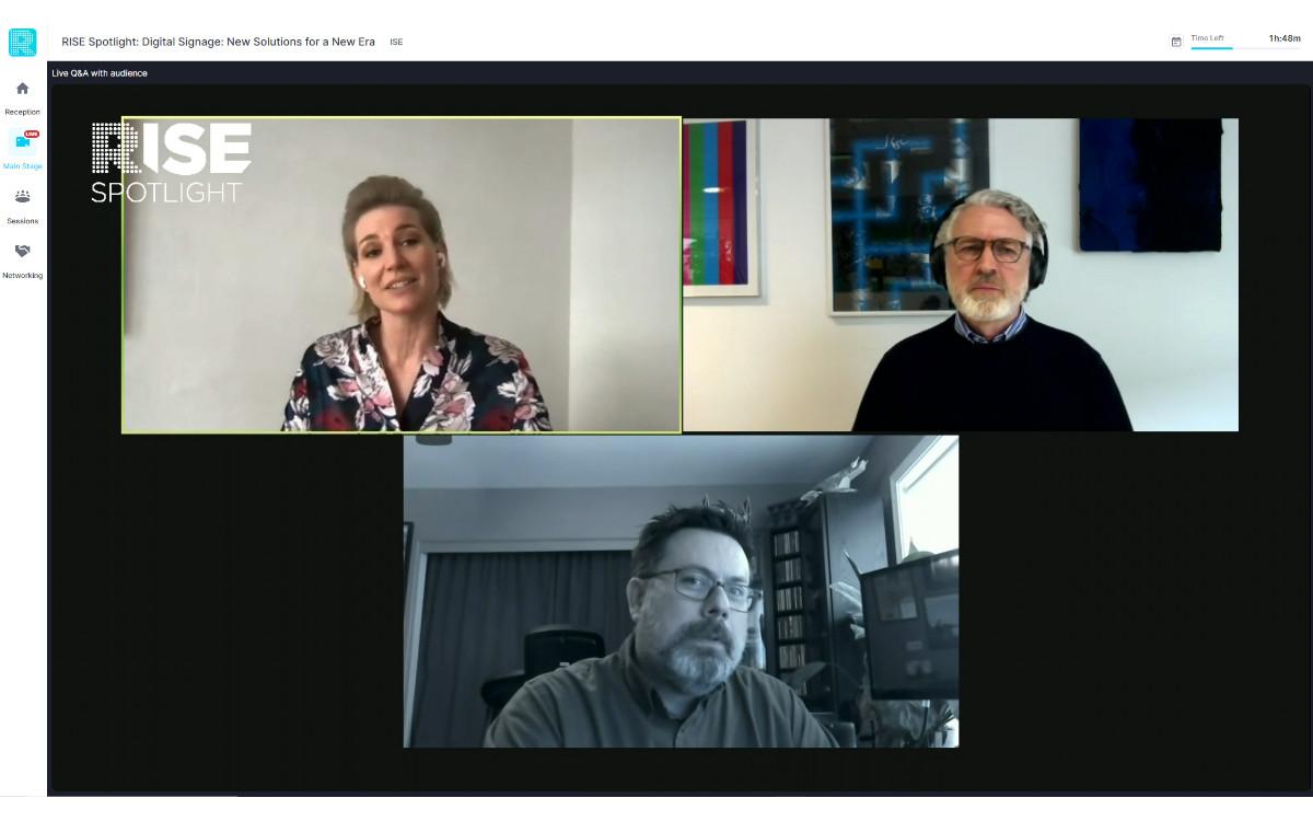 Die Speaker der ISE-Reporter Roundtable: Laila Hede Jensen von ZetaDisplay, Roland Grassberger von Grassfish (o.r.) und Richard Daugherty von AVI-SPL (Foto: Screenshot)