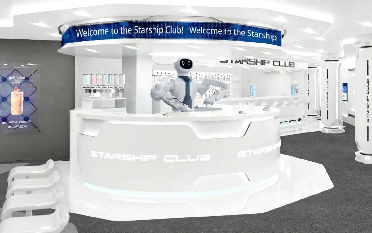 Robo-Barkeeper 'Rob' bedient im Starship Club auf der MSC Virtuosa (Foto: MSC)