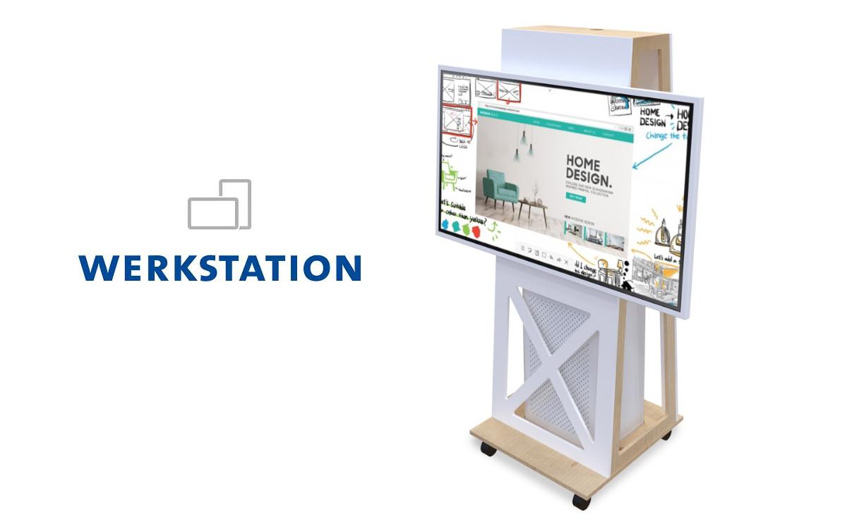 Thola-HELON von Werkstation bietet auf einer rollbaren Halterung Platz für ein Flip2 von Samsung sowie einen HELON Profi-Luftreiniger (Foto: Werkstation GmbH)