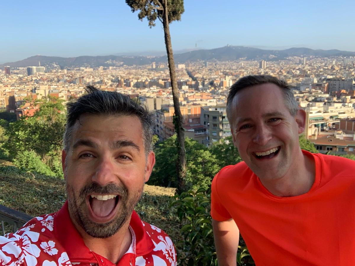 Mit Joan Aixa / Digital Signage Europachef Techdata über den Dächern von Barcelona - ISE Morning Run (Foto: invidis)