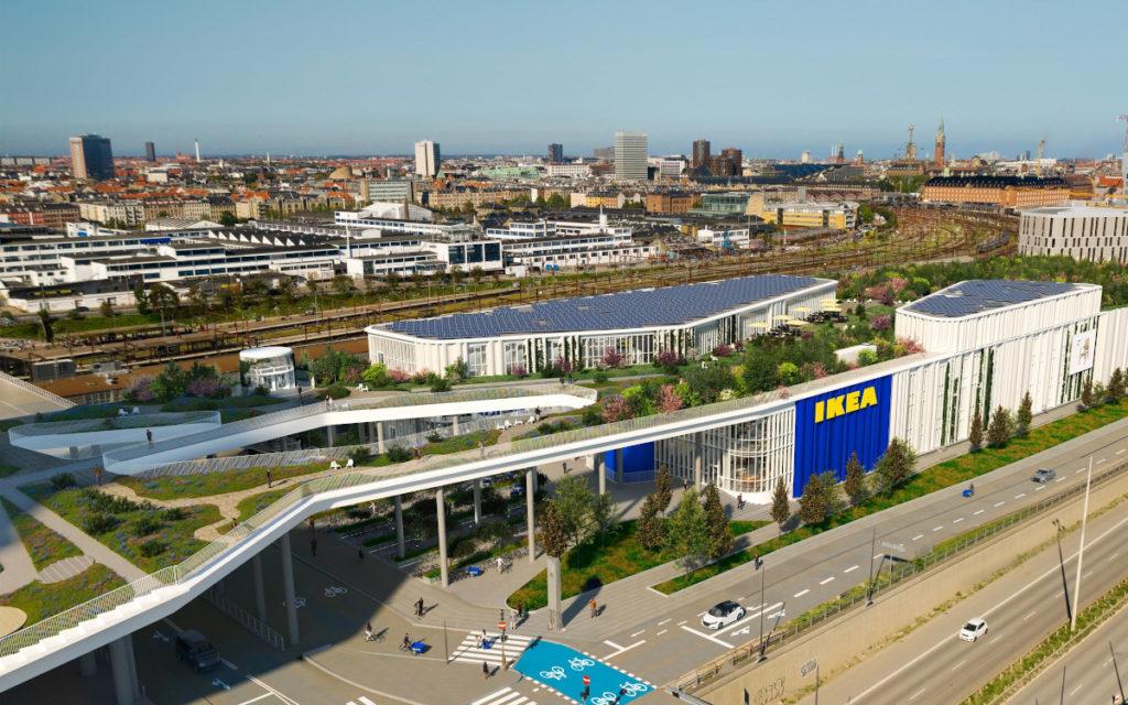 Park auf dem Dach, Fahrrad-Parkplätze vor der Filiale (Foto: Dorte Mandrup)