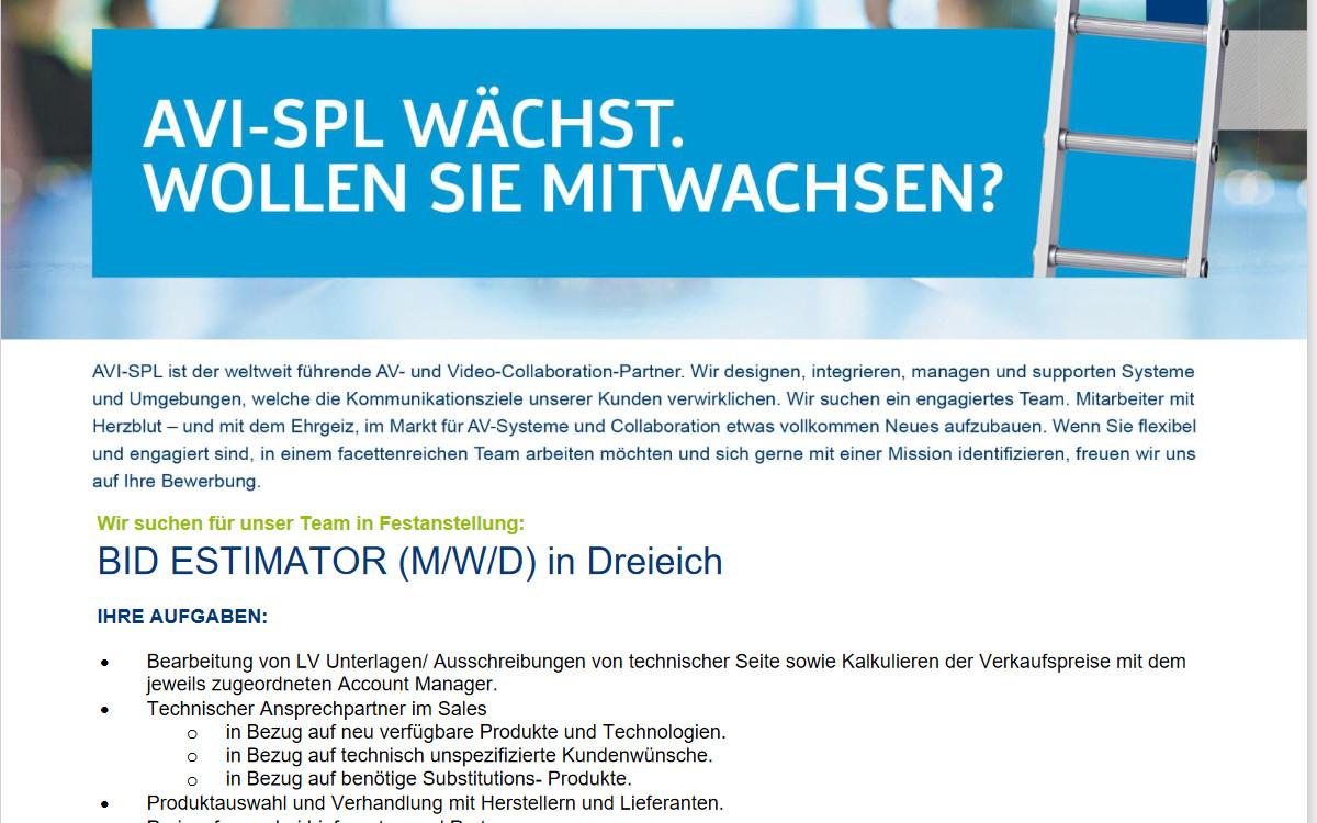 AVI-SPL sucht Ausschreibungsexperte (Foto: AVI-SPL)