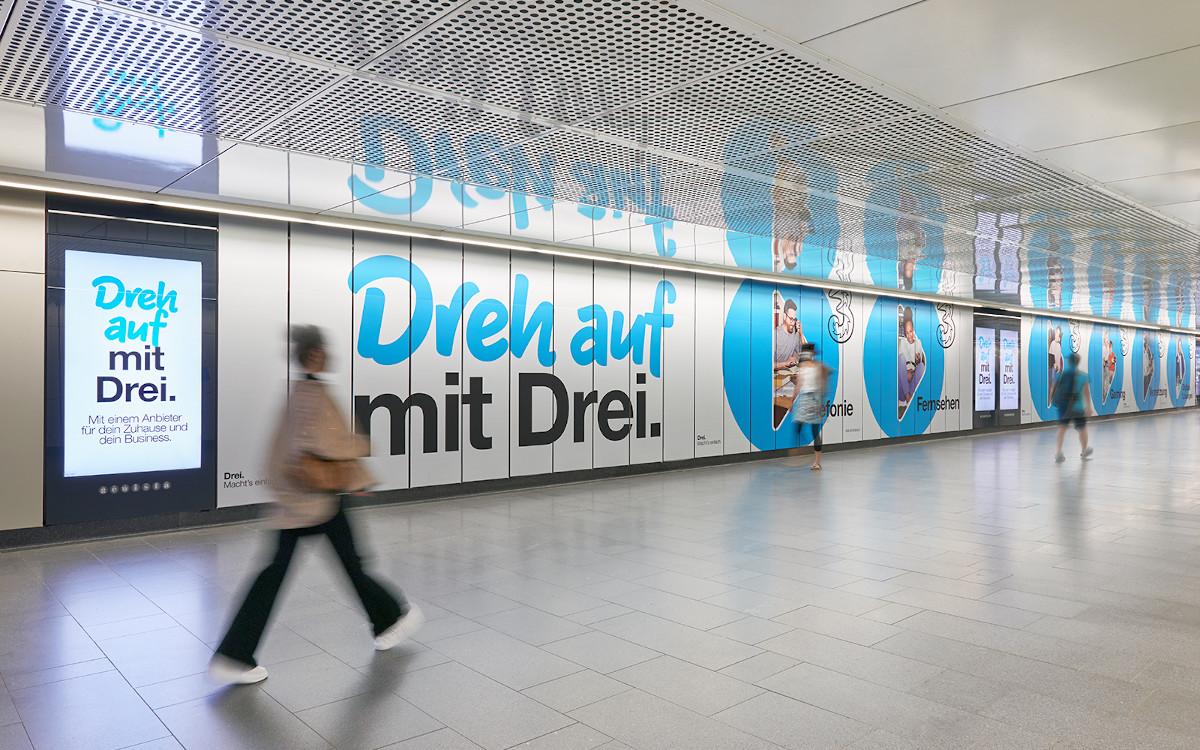 Drei Österreich bewirbt auf Gewista-Medien (Foto: Gewista)