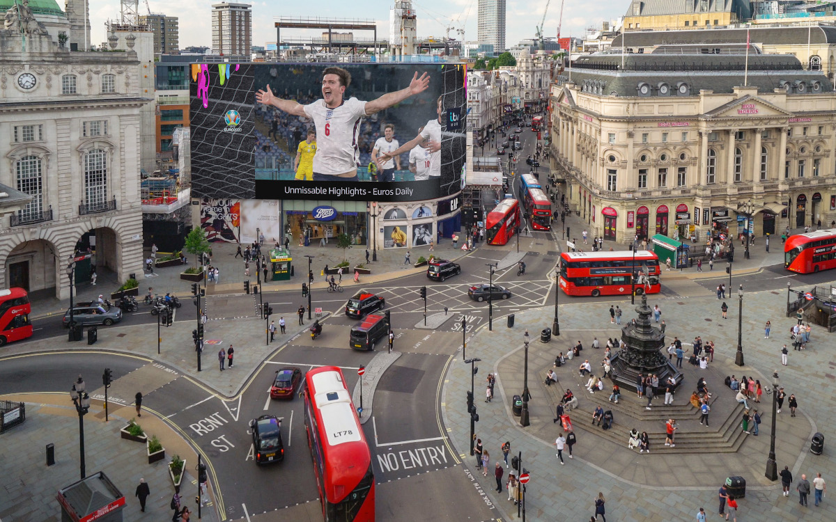 Euro 2020 am Piccadily Circus in London (Foto: Ocean)