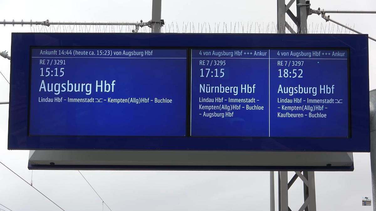 Neue Zugzielanzeiger im Fernverkehr - Lindau (Foto: Screenshot)