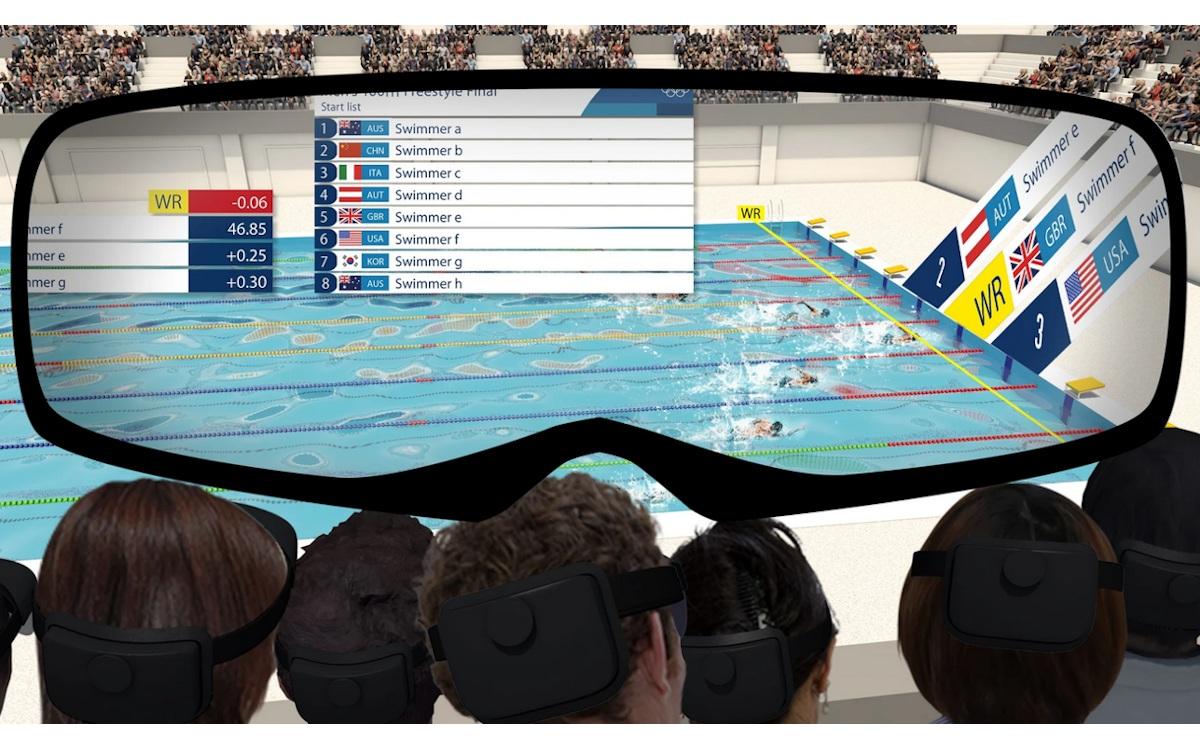 AR-Erlebnisse für Zuschauer im Aquatics Center (Foto: Tokyo 2020 / NTT Dodomo)