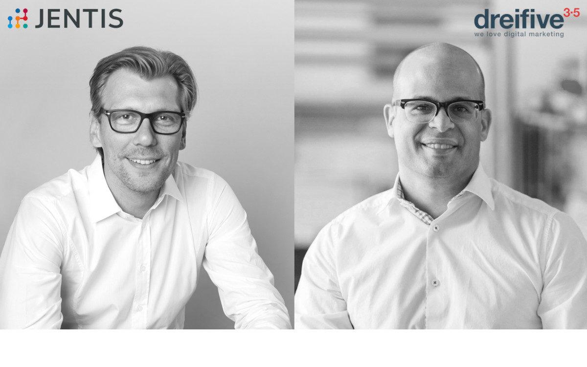 Klaus Müller, Co-CEO und Founder von Jentis (links) und Marcel Oppliger, Managing Director dreifive (rechts) arbeiten nun in der DACH-Region verstärkt zusammen. (Bild: Jentis/dreifive)