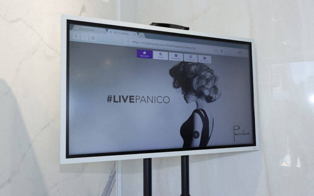 Einer der interaktiven Screens im Laden (Foto: Mike Coppola/Getty Images for Samsung and Panico Salon)