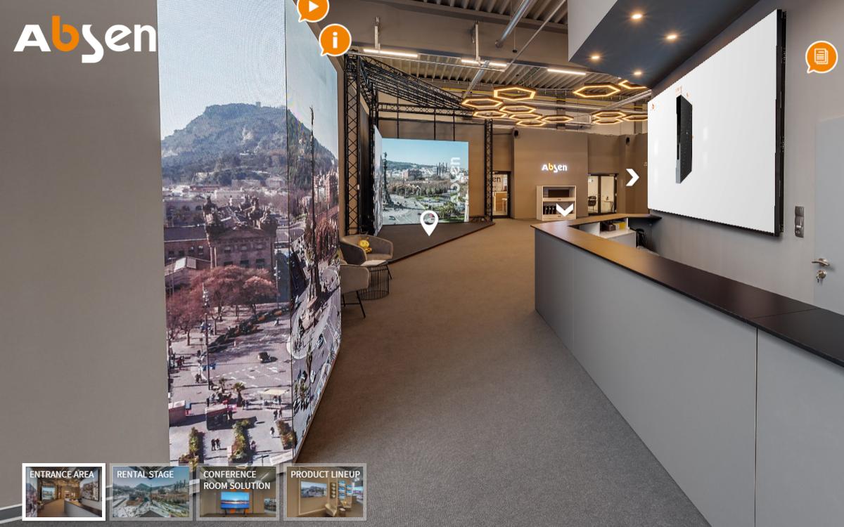 Den Absen-Showroom kann man sowohl physisch als auch online besuchen - hier ein Beispiel aus der virtuellen Variante. (Foto: Absen Europe)