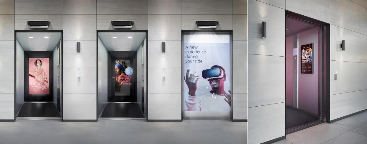 Schindler DooH-Screens in der Aufzugkabine (Foto: Schindler)