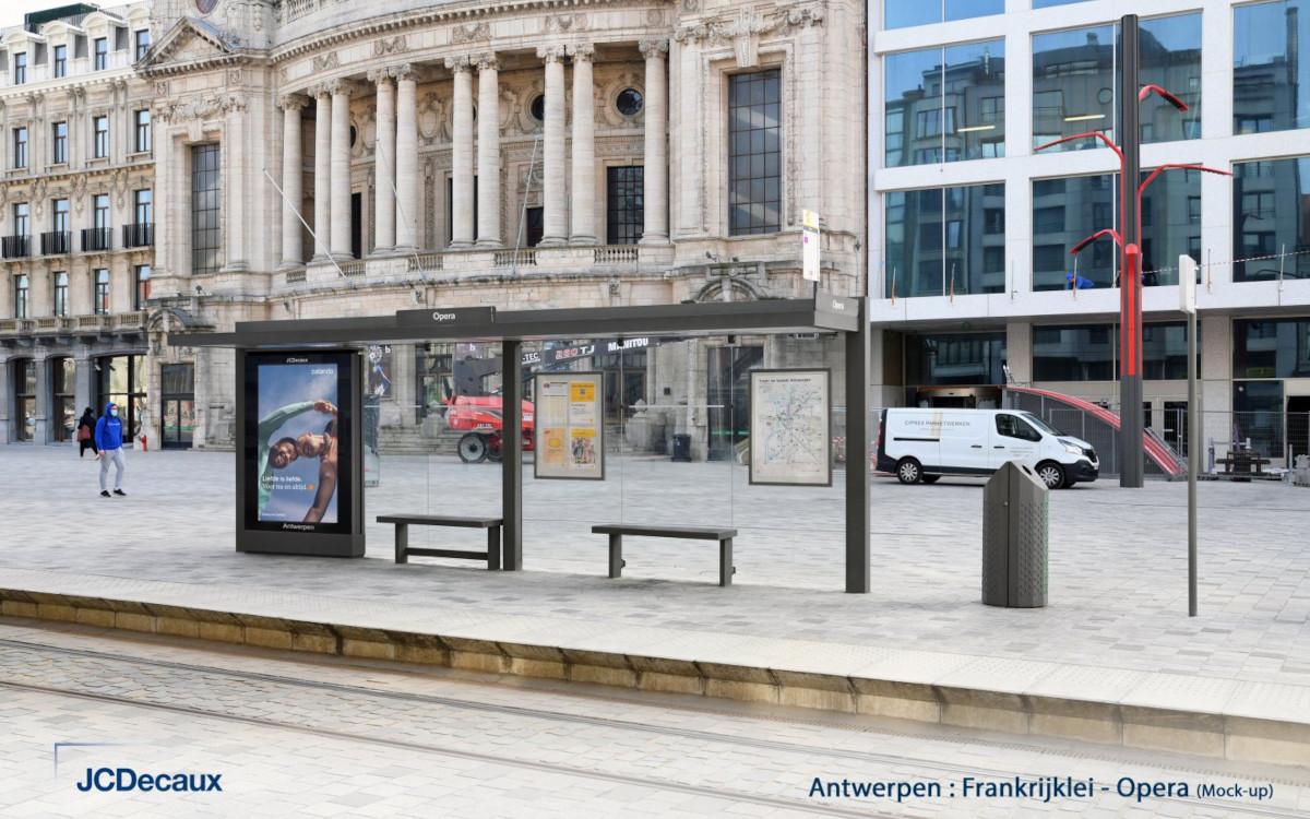 So sollen die neuen Fahrgastunterstände von JCDecaux in Antwerpen aussehen. ( Foto: JCDecaux)