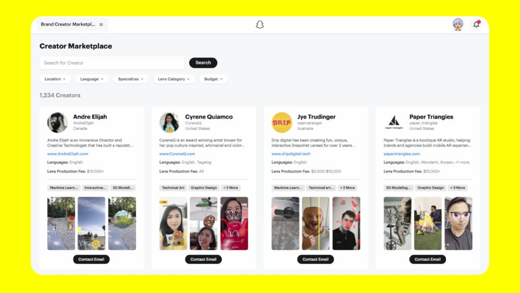 Auf dem Creator Marketplace können professionelle Lens-Entwickler ihre Dienste anbieten. (Bild: Snapchat)
