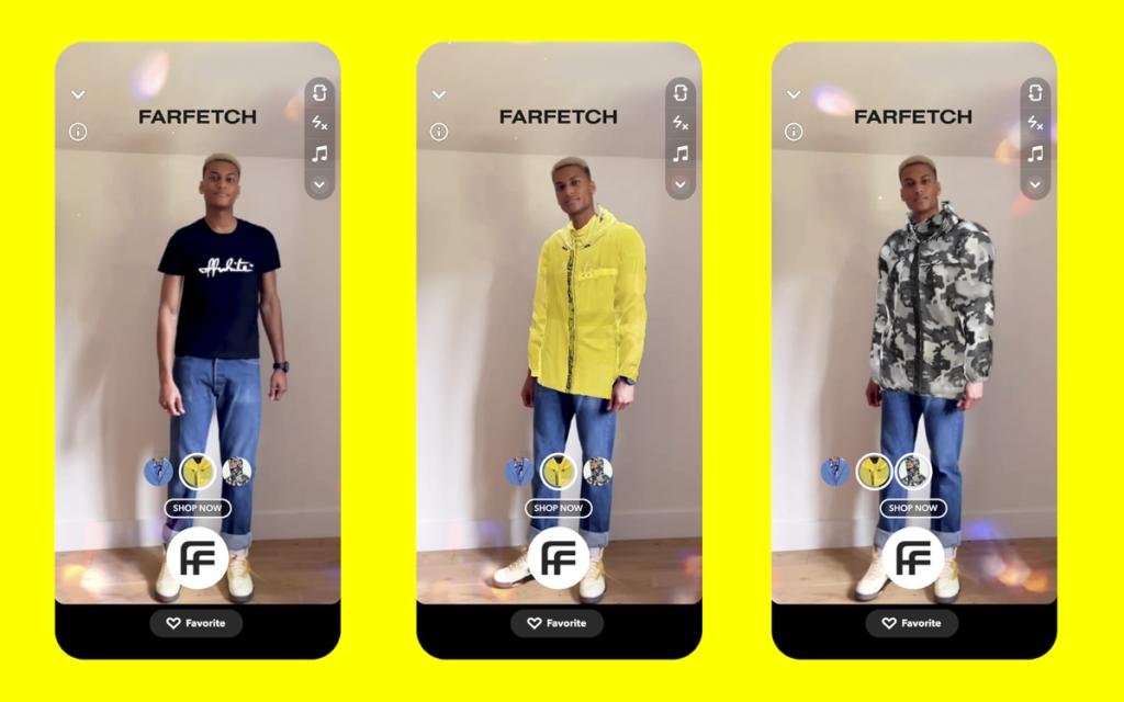 Die virtuelle Anprobe bei Farfetch funktioniert auch über Sprachbefehle. (Bild: Snapchat)