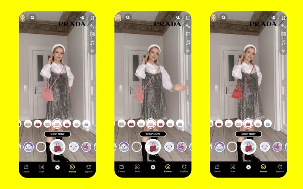 Mit einer Handbewegung ändert die Prada-Handtasche im virtuellen Ankleideraum ihre Farbe. (Bild: Snapchat)