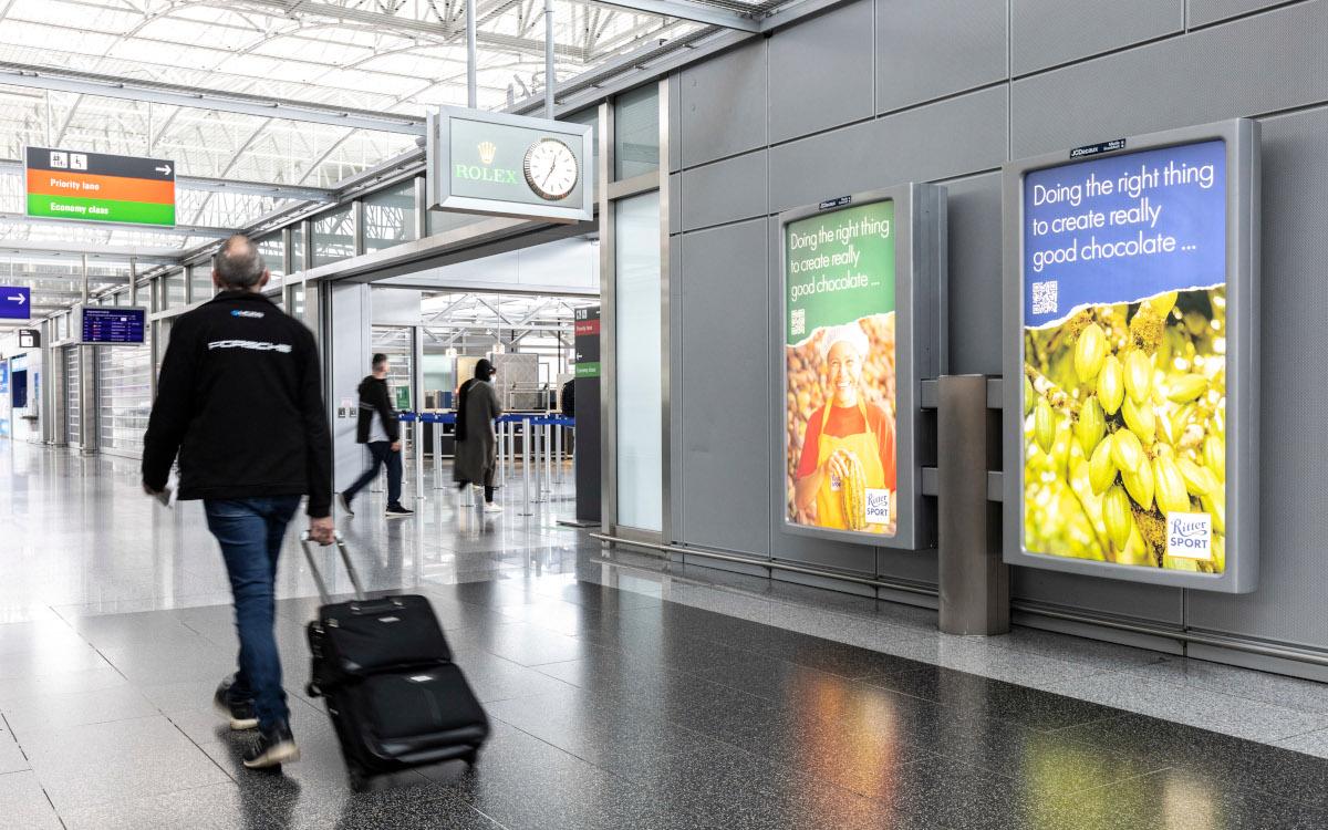 Ritter Sport ist einer der ersten OoH-Kunden nach der Wiedereröffnung des Terminal 2 am Frankfurter Flughafen. (Foto: Frankfurter Flughafen)