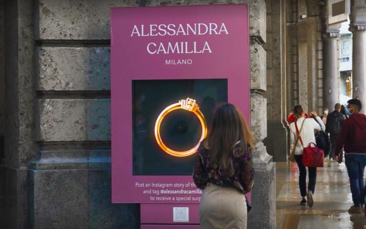 In Mailand konnte man holografische Abbildungen von Luxusringen bewundern. (Foto: Hypervsn)