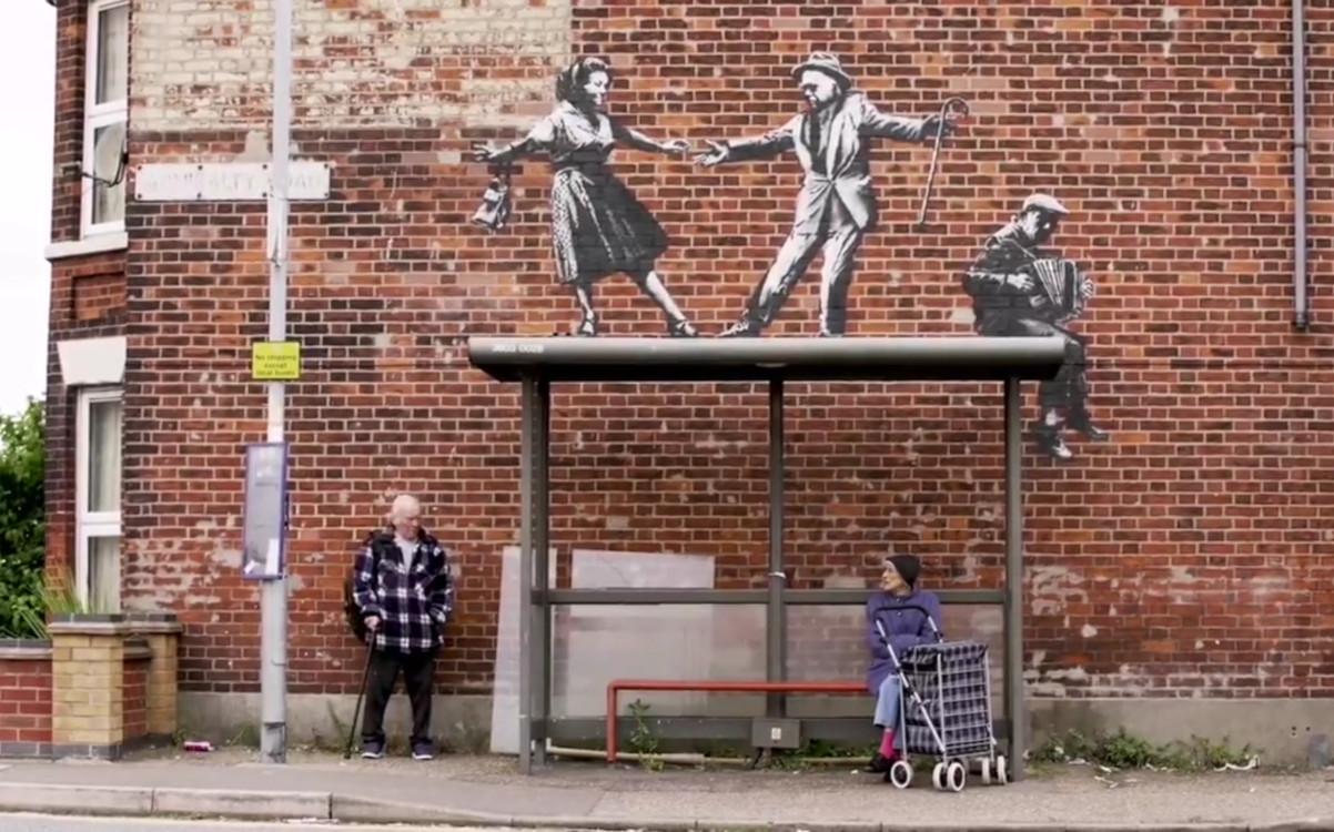 Banksy Wandgemälde an englischen Ostküste (Screenshot)