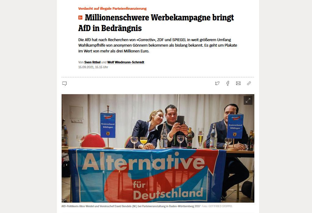 Spiegel Online berichtet über 3 Mio Plakatkampagne der AfD (Foto: Screenshot)