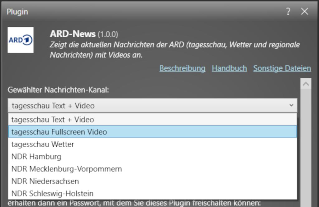 """Auswahl der verschiedenen Kanäle im """"ARD News""""-Plugin (Bild: mirabyte)"""