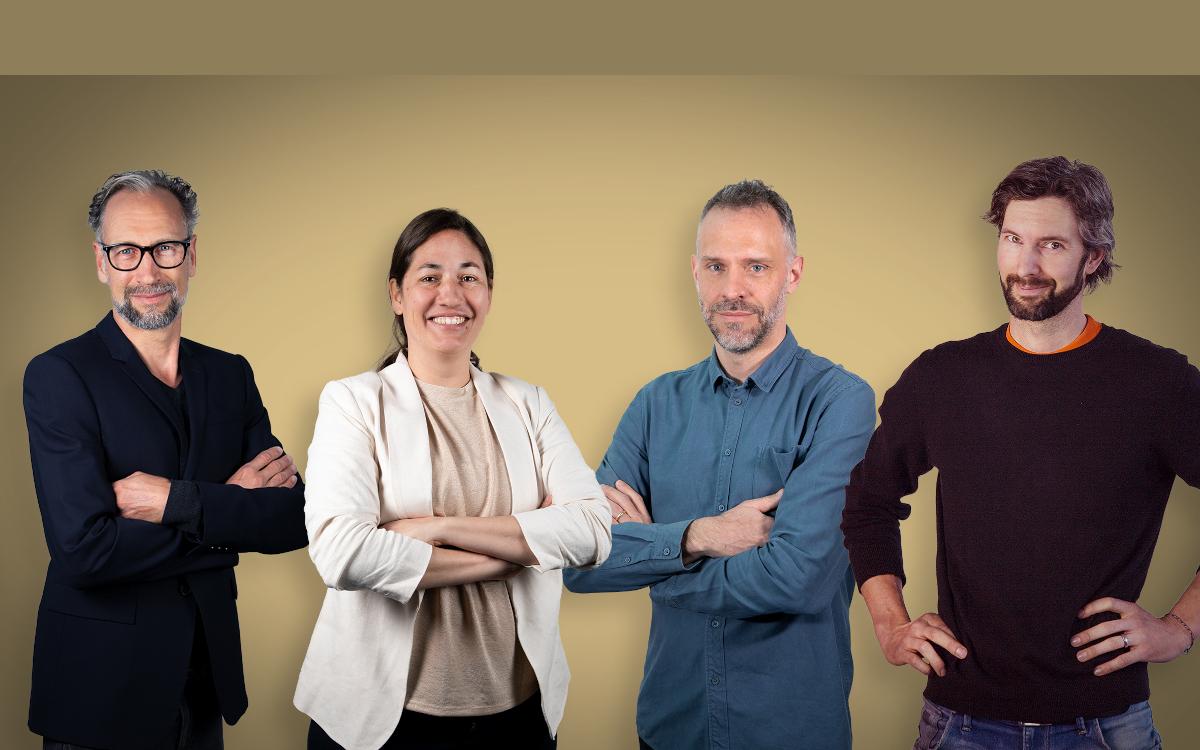 Die Habegger Creation Führungscrew (von links): Jan Imberi (Head of Creation), Eloisa Avila, Stephan Frick und Christoph Runne (Creation Teamleaders) (Foto: Habegger AG)