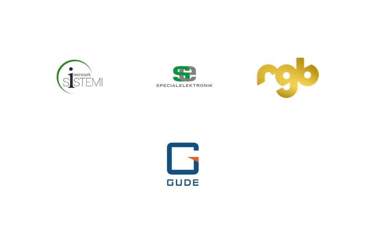 Logos von Gude Systems, Intermark Sistemi, Special-Elektronik, RGB Communications