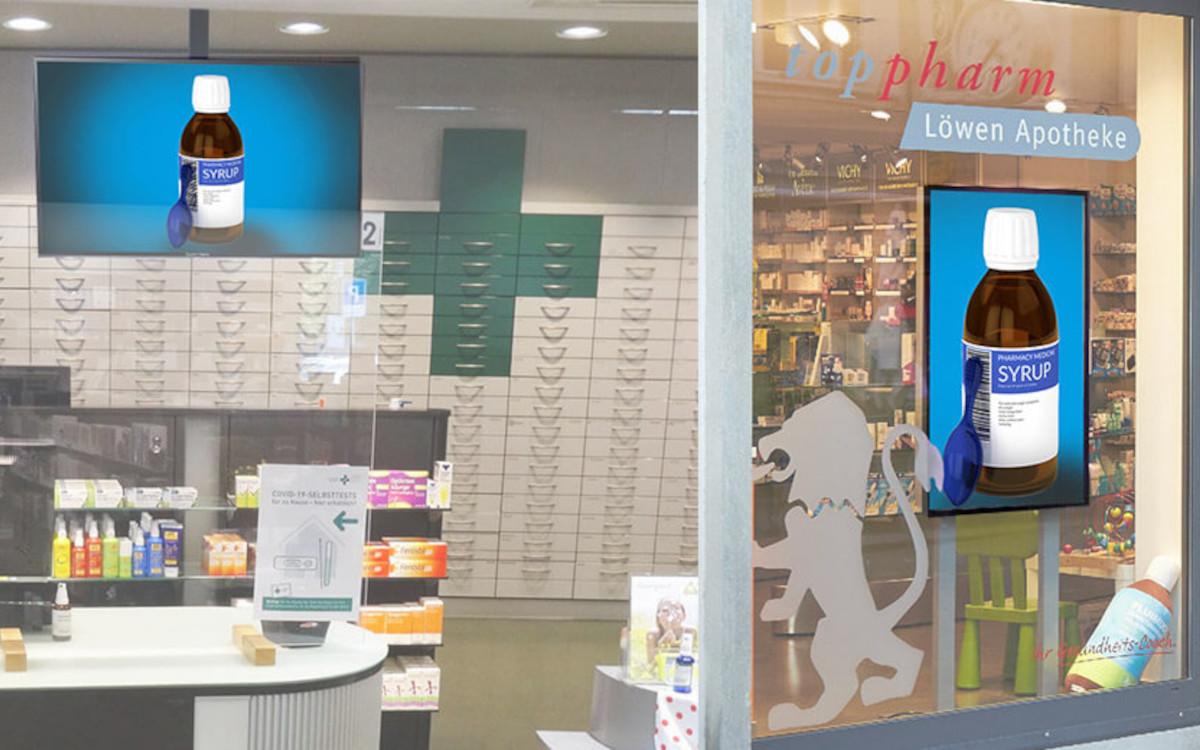 Die Screens der Top-Pharm-Apotheken werden jetzt von Excom Media verwaltet. (Foto: Excom Media AG)