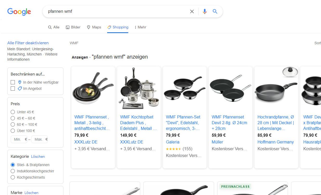 """Google-Shopping-Anfrage: Links oben ist der Filter """"In der Nähe verfügbar"""" zu sehen. (Foto: Screenshot)"""